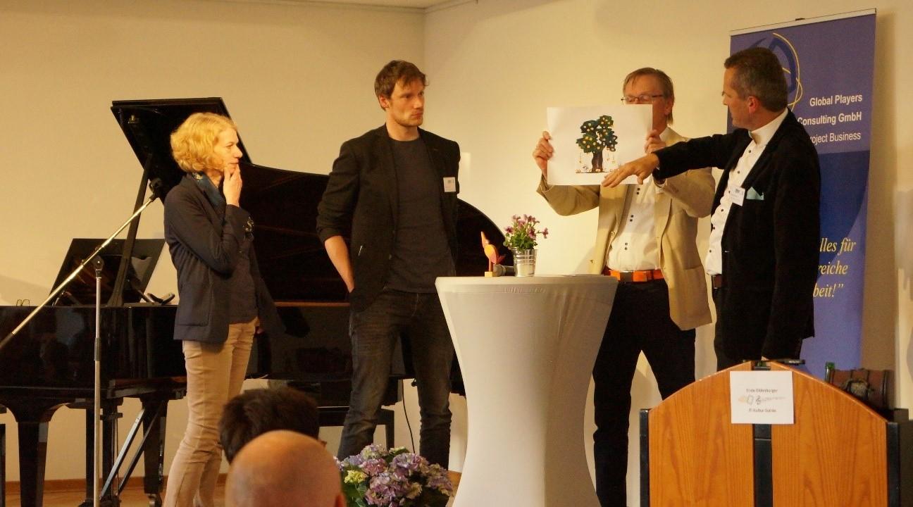 Bei der Podiumsdiskussion: Elisabeth Gänger, Simon Rothe, Reiner Homann, Herbert Biehler